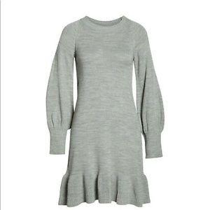 Eliza J Balloon Sleeve Ruffled Sweater Dress
